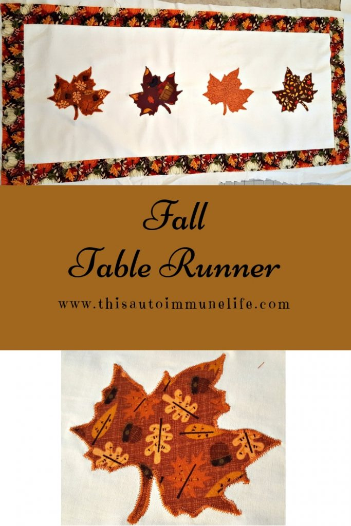 Fall Table Runner from www.thisautoimmunelife.com #fall #tablerunner #quilted #applique
