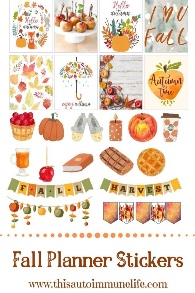 September 2019 Planner Stickers from www.thisautoimmunelife.com #fall #thanksgiving #stickers #free