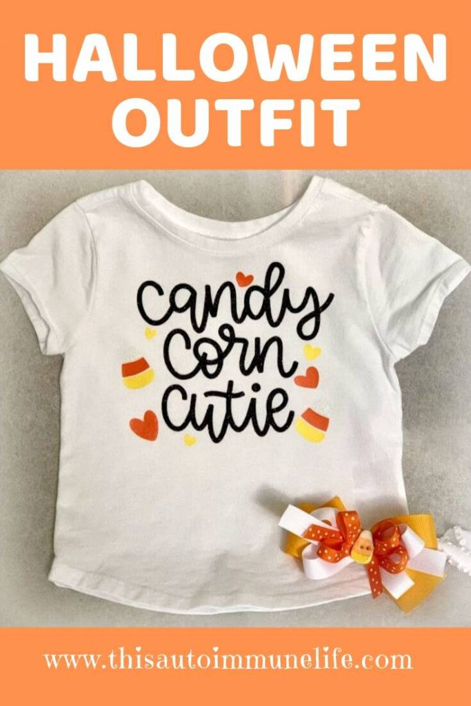 Candy Corn Cutie Outfit from www.thisautoimmunelife.com #candycorncutie #Halloween #cricut #freesvg