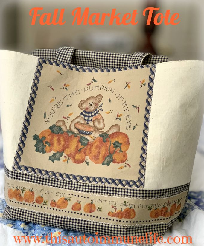 How to make a fall market tote from www.thisautoimmunelife.com #craftdestash #fall #markettote #sewing