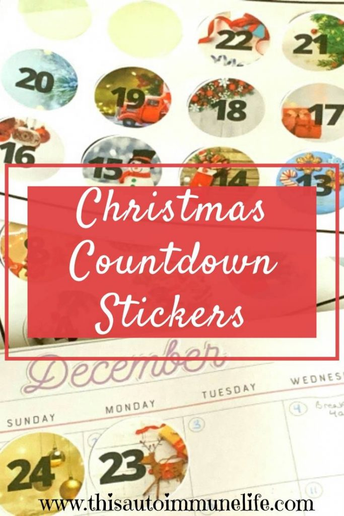 Printable Christmas Countdown Stickers - get ready for the holiday season with these printable stickers for your planner! from www.thisautoimmunelife.com #Christmas #planner #stickers #countdown