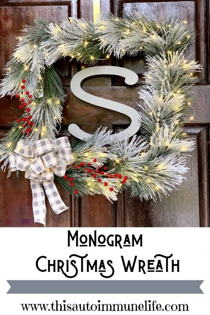 Square Monogram Christmas Wreath from www.thisautoimmunelife.com #Christmas #wreath #square #monogram #OrientalTrading